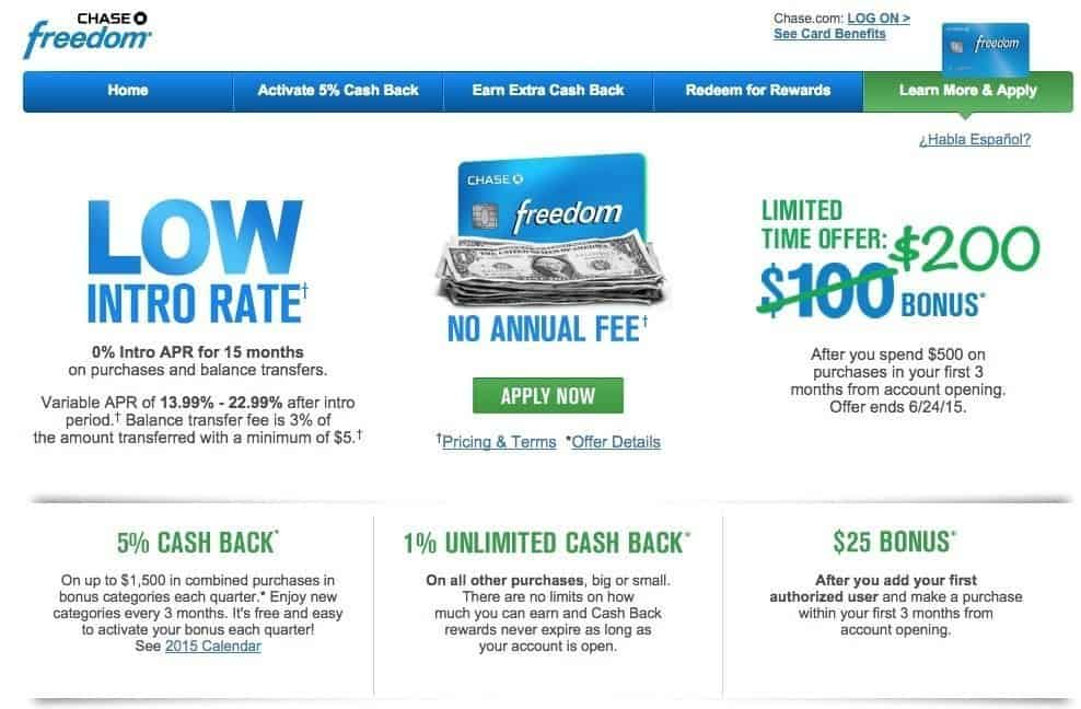 Chase Freedom Rewards $200 bonus offer